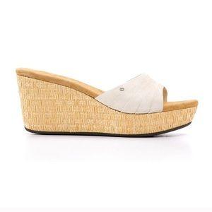 Ugg Alvina cream suede wedge sandals size 7 1/2